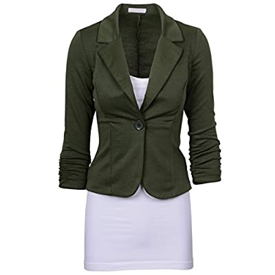 Abetteric Women's Solid One Button Plus Size Office Work Blazer Coat
