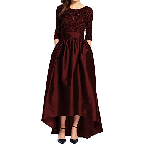 Liyuke Half Sleeve Hi Lo Prom Dress Sequin Formal Evening Gown for Women Burgundy US 2
