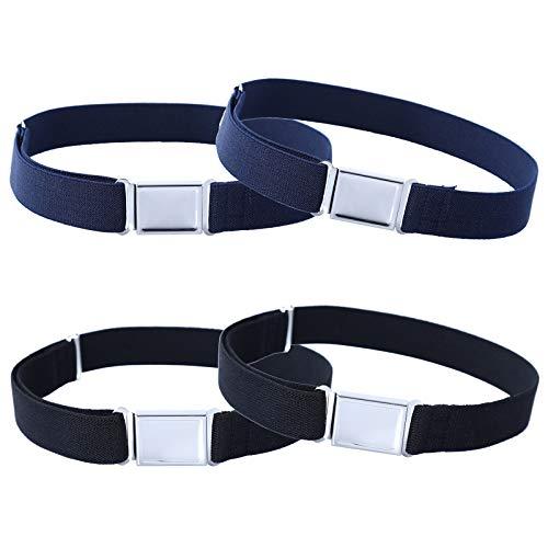 4PCS Kids Boys Adjustable Magnetic Belt - Elastic Belt with Easy Magnetic Buckle (2pcs Black/ 2pcs Navy Blue)