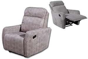 Sillón relax reclinable con palanca, color gris.
