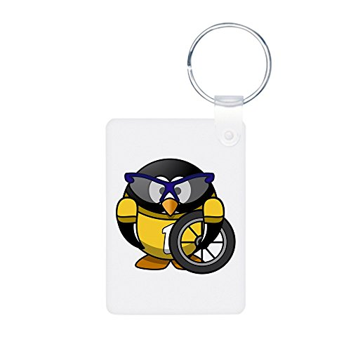 Aluminum Photo Keychain (2-Sided) Little Round Penguin - Cyclist in Yellow Jersey