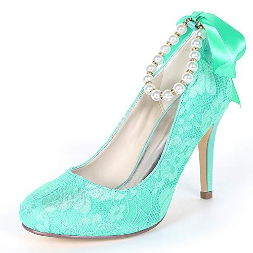 L@YC Zapatos De Boda De Las Mujeres/Talones 9cm Fiesta Y Perla De La Tarde Chunky Punta Redonda Gatito / FY562 Blue