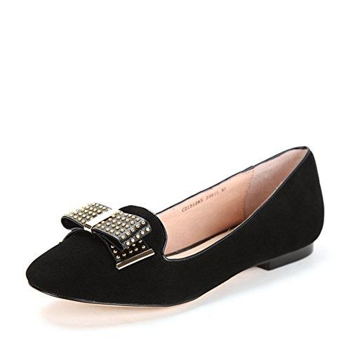 Remache cosecha primavera-verano zapatos de arco/ redonda cabeza ligera de zapatos Negro