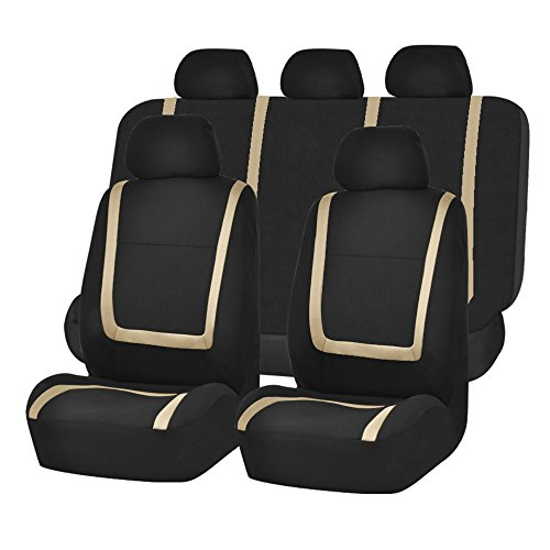 Beige Stripes Snap (FH GROUP FH-FB032115 Unique Flat Cloth Seat Cover w. 5 Detachable Headrests and Solid Bench Beige / Black- Fit Most Car, Truck, Suv, or Van)