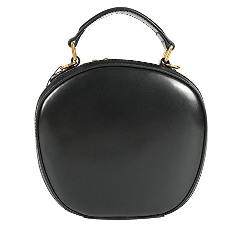 QueenGlobal Round Vintage Genuine Leather Top Handle Handbags for Women Crossbody Bags 4 Colors Purse Satchel