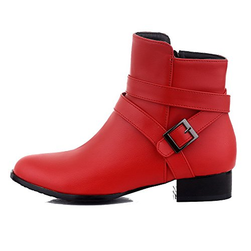 Top Heels Low Solid Low Pu AgooLar Red Women's Zipper Boots xqU0vwtw