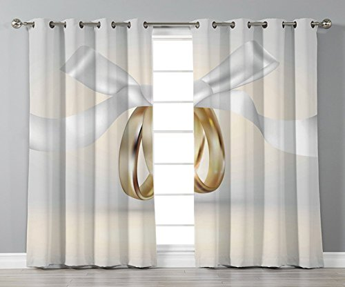 (Thermal Insulated Blackout Grommet Window Curtains,Wedding,Golden Colored Wedding Rings with Ribbon Marriage Icon Realistic Celebration Photo,White Gold,2 Panel Set Window Drapes,for Living Room)