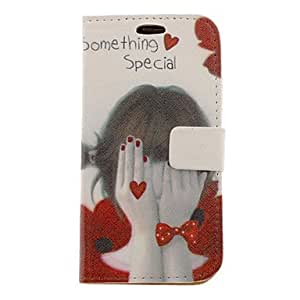 YULIN Shy Girl Drawing Pattern Faux Leather Hard Plastic Cover Pouches for Samsung Galaxy S3 I9300