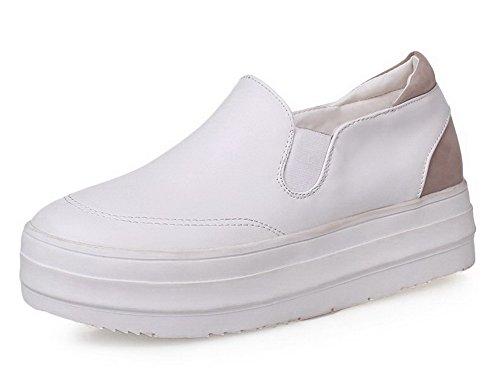 AllhqFashion Mujeres Sin Cordones PU Puntera Redonda Mini Tacón Sólido Zapatos de Tacón, Blanco, 38