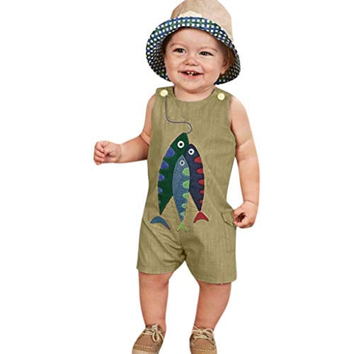 Tronet Onesies Baby boy Sleeveless Toddler Baby Boys&Girls Sleeveless Cartoon Fish Print Romper Jumpsuit Khaki ()