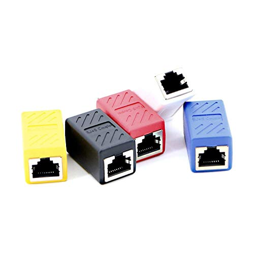 Pasow RJ45 Coupler in-Line Coupler Cat6 Cat5e Cat5 Ethernet Cable Extender Adapter Female to Female (5 Pack)