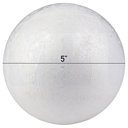 Smooth White Craft Foam Polystyrene Round Balls by MT Products (5 inch) (4 Pieces) (5 Piece Paint Stick)