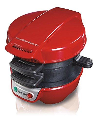 Hamilton Beach Breakfast Sandwich Maker Kitchen Counter Top Press, Red 25476