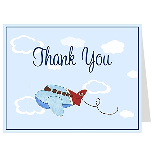 Folding Note (Airplane Thank You Cards, Baby Shower, Birthday, Little Pilot, Baby Boy, Vintage, Fly, Retro, Up Up and Away, Red, Navy, Blue, Kids, Set of 50 Folding Notes with White Envelopes, Airplanes)