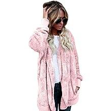 Forthery Women's Warm Fleece Sherpa Jacket Hooded Coat with Pocket Winter Outwear (US XL = Tag XXL, Pink)