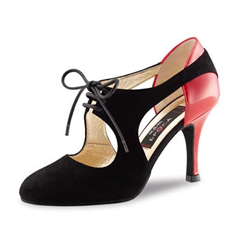 8 Scarpe Epoca Rosso Cm vernice Ballo Stiletto Talia Scamosciato Da Nueva Donne Nero vw1ExwA