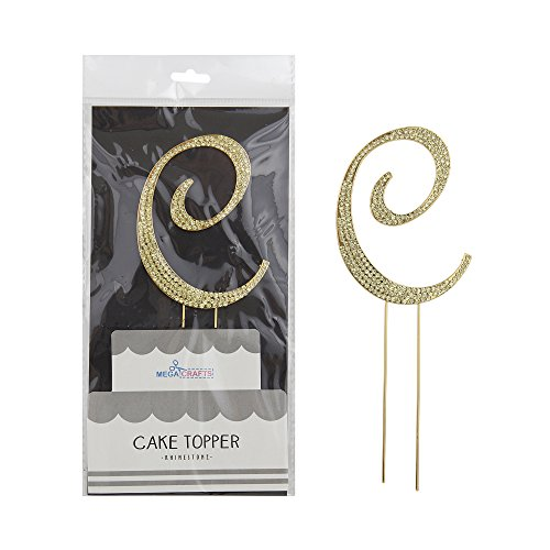 Mega Crafts Sparkly Gold Rhinestone Letter C Cake Topper Decoration | Shimmering Gold Crystals & Durable Alloy Metal | For Birthdays, Anniversaries, Centerpieces, Party Favors, Celebrations & More