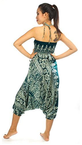 Harem Baggy Men Women Gypsy Hippie Jumpsuit Trouser Loose Pants Teal Green by Extreme Quality