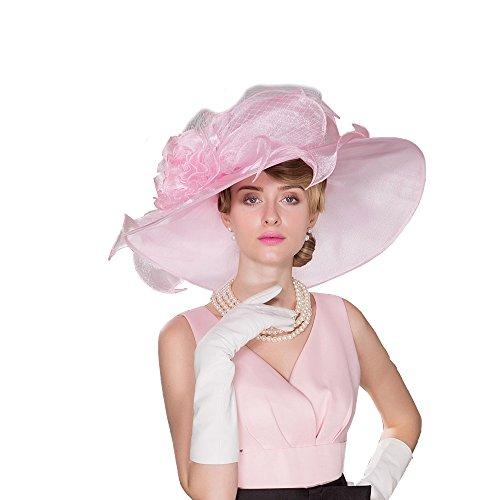 HomArt Women's Organza Church Bridal Wedding Party Hat Triple Crown Hat, Organza, White/Pink by HomArt