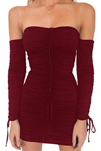 Malla Rojo Apretada Verano Bodycon Club Vestido Las Mujeres Acanalada Hombro HUFp8