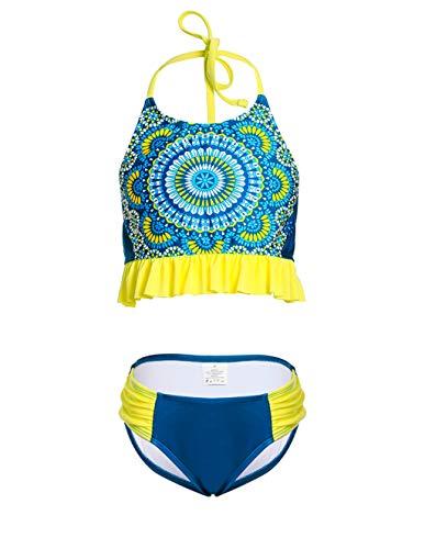 (LEINASEN Cute Floral Printed Halter Strap Two Piece Bikini Set for Girls Yellow)