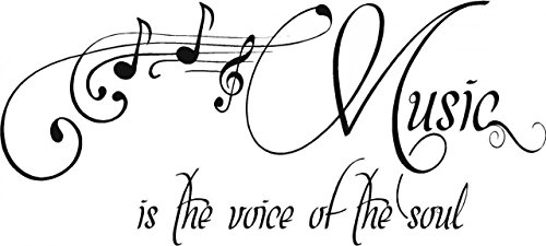 Top Selling Decals - Prices Reduced : Best Selling Cling Transfer : Music Is The Voice Of The Soul Singing Church Gospel Choir Song Quote Wall Sticker Size : 8 Inches X 24 Inches - 22 Colors Available
