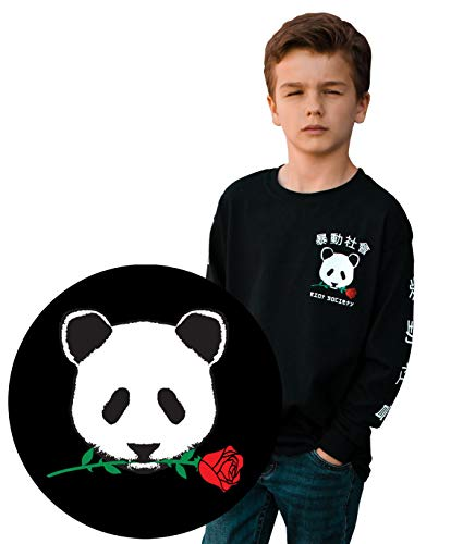 Riot Society Panda Rose Boys Long Sleeve Tee - Black, X-Large