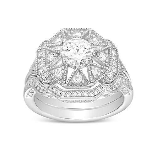 Art Deco Sterling Silver Cubic Zirconia Art Deco Antique Halo Engagement Ring CZ Two Piece Bridal Set (Size 8)
