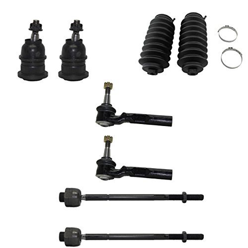 Detroit Axle - 8pc Front Upper Ball Joints, Inner & Outer Tie Rods w/Rack Boots Kit for 2WD Coil Spring Suspension - 99-06 Chevy Silverado/Sierra 1500 - [2007 Classic Chevy (2wd Ball Tie)