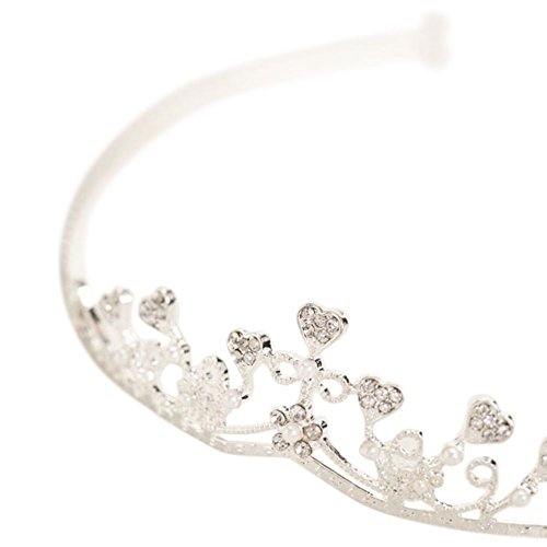 Small Rhinestone Heart Tiara with Pearls Style 9879, - Bogo Style