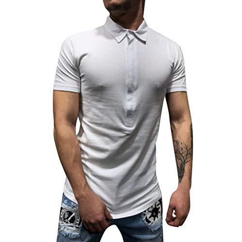 MIUCATMen's Sports Shirts, Short Sleeve Shirt Casual Pure Color Button Down Striped Splice Lapel Blouse White (Akademiks Striped Polo Shirt)