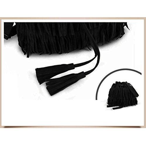 Fulltime (TM) mujeres moda casual Messenger borla sólido bolsas cordón bolsas de hombro, Infantil mujer, negro negro