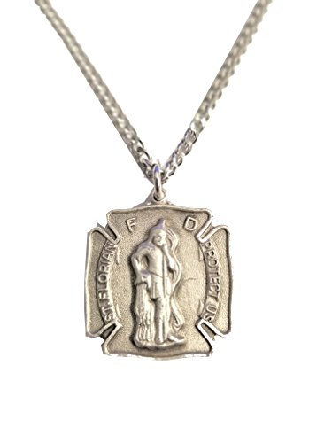 - Zemmys Saint Florian Protect Us Fireman Firefighter Shield Pendant Necklace Stainless Steel Chain