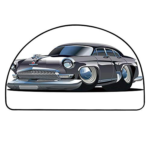 YOLIYANA Cars Semicircle Rug,Retro Inspired Car Design with Asymmetric Tires Fast Car Speeding Cool Logo Decorative Floor Mat,25.9