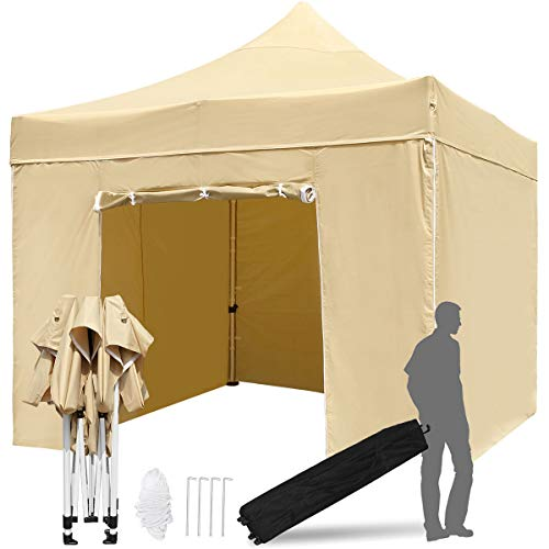 TopCamp 10'x 10' Outdoor Canopy, Heavy Duty Commercial Pop-up Canopies with 420D Waterproof and UV-Treated Top & 4 Removable Walls & Wheeled Carrying Bag, Instant Sun Shelter (10 x 10 EZ Tan)
