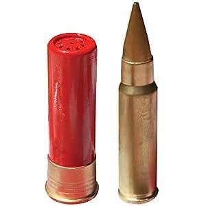 Assault Salt And Pepper Shaker Set Ceramic Shotgun Shell & Cartridge Shape