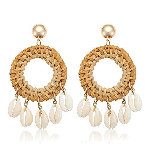 CEALXHENY Shell Rattan Earrings Boho Chandelier Seashell Bead Drop Earrings Handmade Straw Wicker Braid Hoop Dangle Earrings for Women Girls (A Circle)