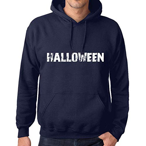 Ultrabasic Unisex Printed Graphic Cotton Hoodie Popular Words Halloween French Navy