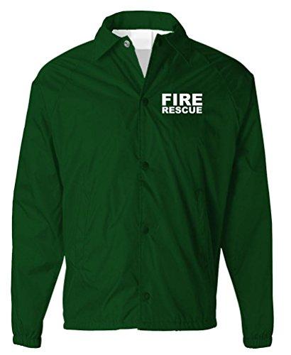 - FIRE Rescue - EMS EMT Paramedic Service - Mens Coaches Jacket, XL, Forest