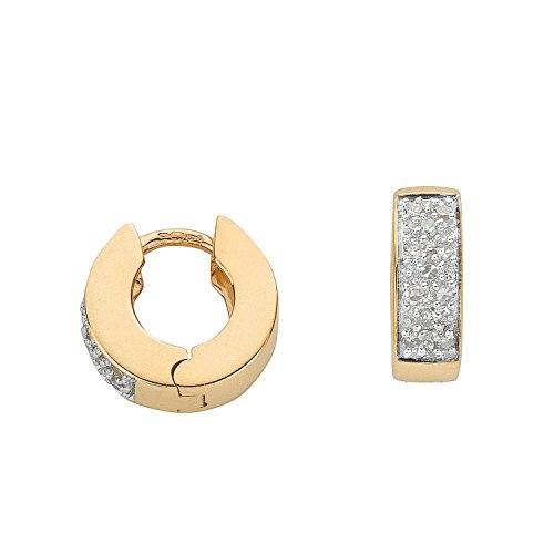 Jareeya - Boucles d'Oreilles Créoles Diamant, 9 ct or jaune avec diamants 0.25 CT