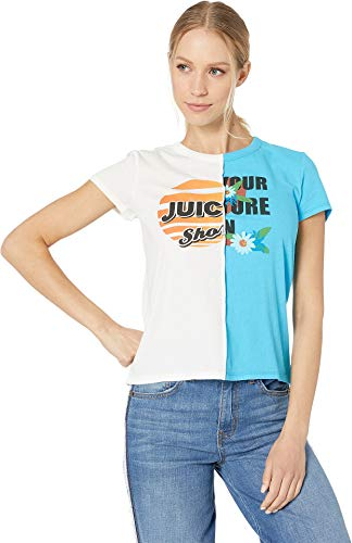 - Juicy Couture Women's Juicy Spliced Sunshine Graphic Tee White/Poolside Small