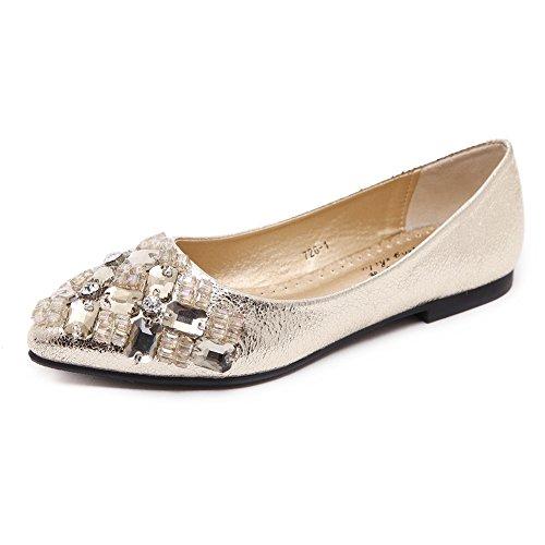 5c8442764e64c6 1 · Meeshine Womens Pointed Toe Ballet Flats Rhinestone Comfort Slip on  Ballerina Flat Shoes (8 B