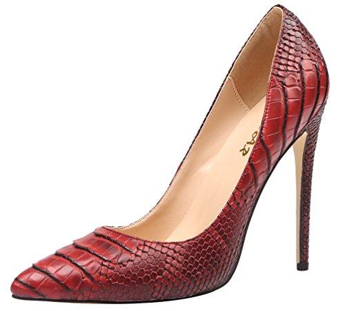 AOOAR Womens Snakeskin-Print High Heel Dress Pumps Shoes Scarlet Pu Swb62qb6y