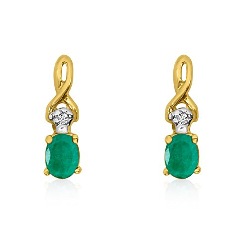 (FB Jewels Solid 14k Yellow Gold Studs Genuine Green Birthstone Oval Emerald and Diamond Earrings (0.18)