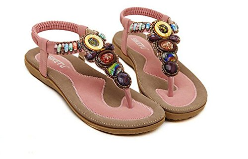 Womens Bohemia Flowers String Flip-flop Flat Sandals Beach Shoes