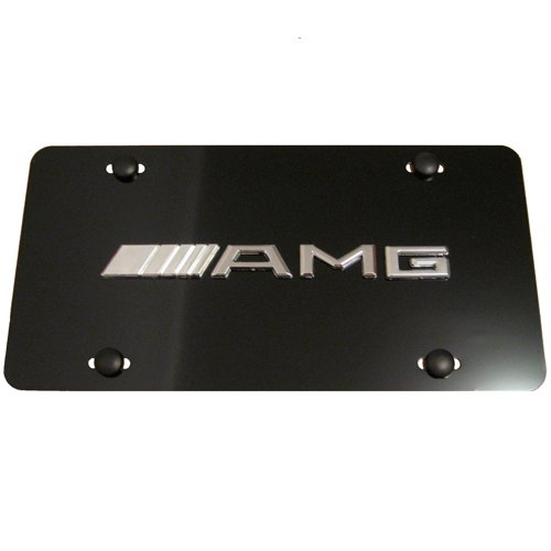 Amg License Plate (Mercedes Benz AMG Logo Aluminum Black Front License Plate)