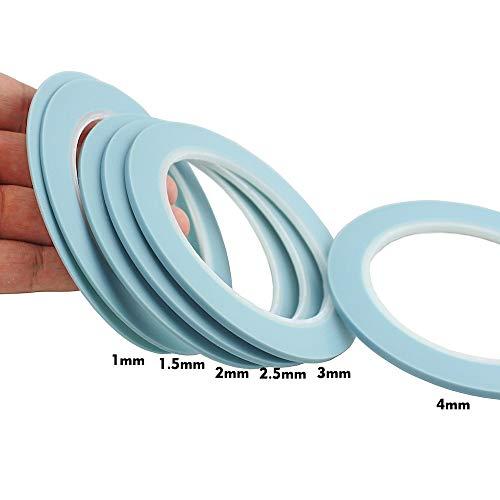 Office Adhesive Tape   Blue High Temperature Single Sided Adhesive PVC Vinyl Fine Line Masking Tape Fineline Tape Mix 1mm 1.5mm 2mm 2.5mm 3mm 4mm   by CUSODI