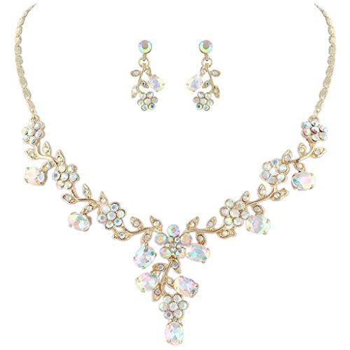 EVER FAITH Flower Leaf Necklace Earrings Set Austrian Crystal Gold-Tone - Iridescent Clear AB ()