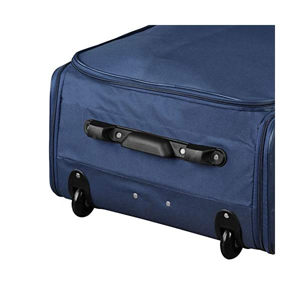 Soft Shell Folding Suitcase with Wheels Grey Navy Black Midnight Navy Trolley Hold Luggage  76 X 45 X 29 cm