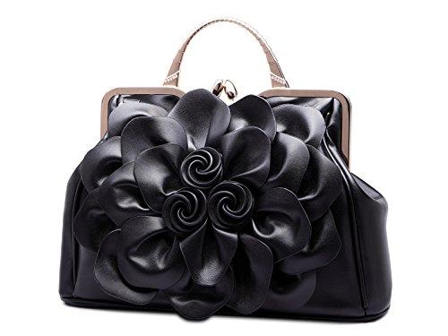 Élégant A Bandoulière Sac Fleurs Trendstar Kaxidy Femme Main Noir Cuir À Pu Satchel Bandouliere qvpw5X6P7w